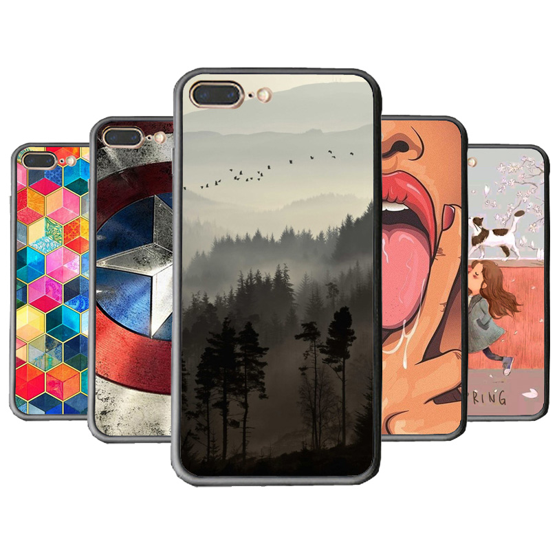 TPU+Hard PC Cover Phone Case For Apple iPhone 8 8Plus X Cases Print Sexy Tongue Floral Capa For iPhone 7 Plus 5S Spring Girl