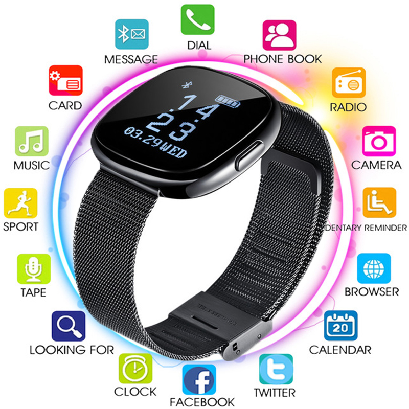 Pedometer Smart-Watch Business Sleep-Tracker Call with Blood-Pressure-Monitor SMS Reminder