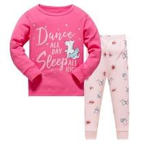 Купить с кэшбэком 2018 brand 100% cotton children pajamas set kids Cartoon dinosaurs sleepwear Girls boys cozy nightwear Family Clothing pyjamas