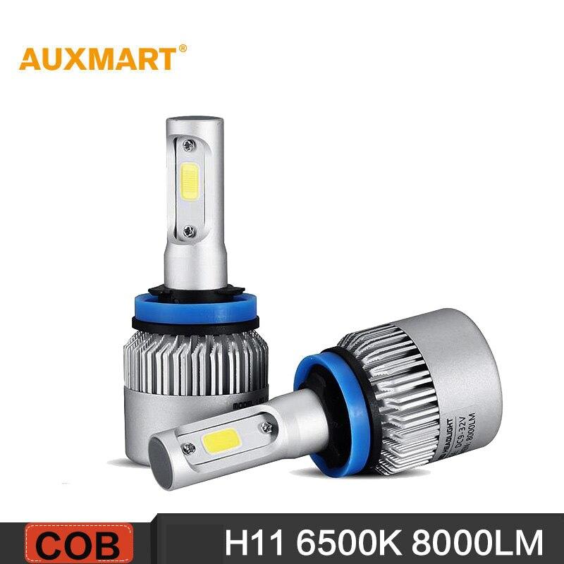 Prix pour Auxmart S2 H11 COB 72 W faisceau Unique LED Phare De Voiture Ampoule Blanc pur 6500 K 8000LM Conduite Lumière Tout-En-Un Brouillard Tête de La lampe 12 v 24 v