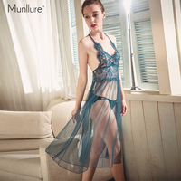 Munllure Sexy lace eyelashes sling long nightdress extreme temptation mesh beauty back hollow women