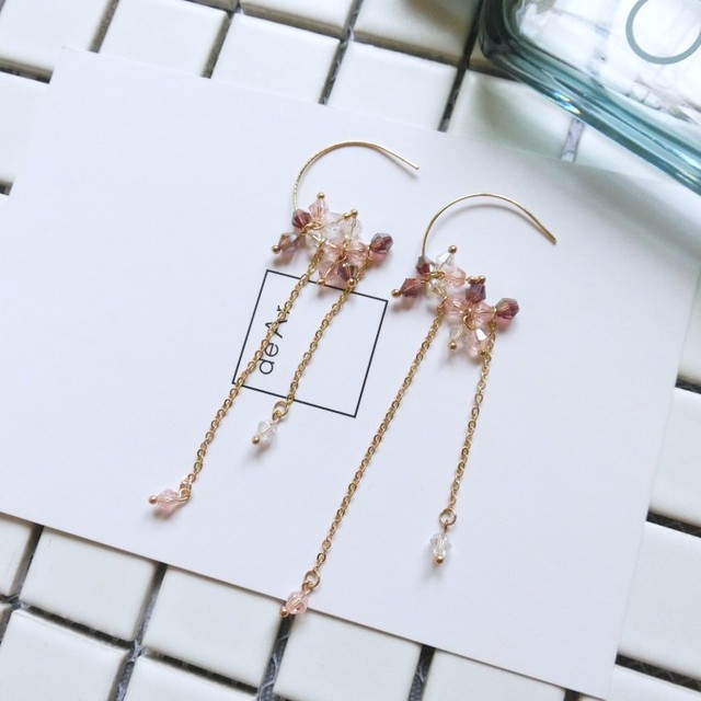 2017 New Korean Accessories Crystal Beads Handmade Long Drop Earrings For Women