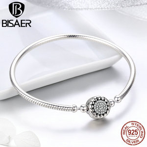 Image 2 - Classic 2019 New 925 Sterling Silver Bright Heart Round Snake Clasp Bracelets Basic Silver Charms Bracelet Women DIY Jewelry