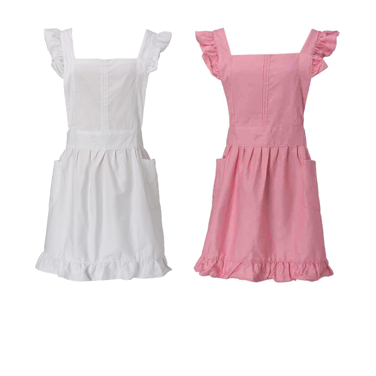 Buy white apron online - Cinderella Yang Victorian White Lace Bib Pinafore Apron Pembantu Alice Mrs Santa Putri Pedesaan Gaya Katun