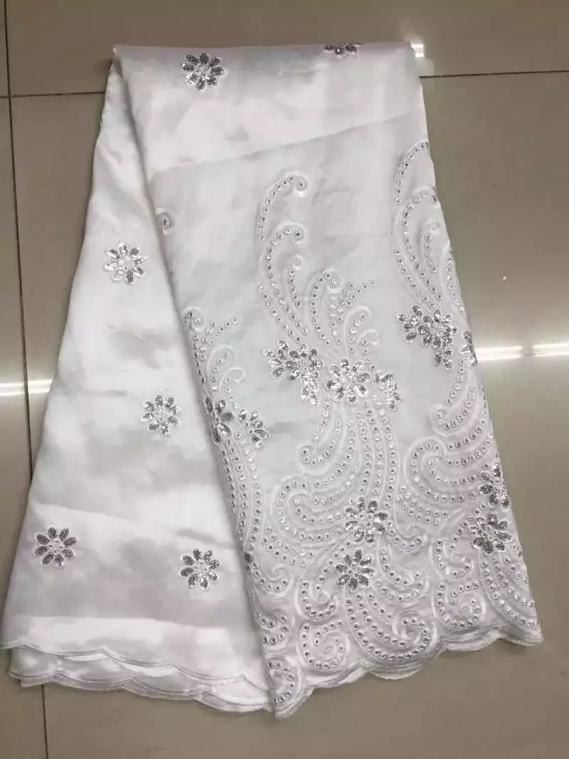 White Nigeria Georges For Wedding Wholesale And Retail Indian George with Sequins For Party Hojilou African