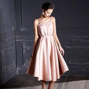 Image 2 - ורוד ללא משענת שמלת ערב 2019 קיץ סקסי שמלה עם גב פתוח ללא שרוולים המפלגה שמלת Strapp לעטוף לפרוע שמלת robe de soiree