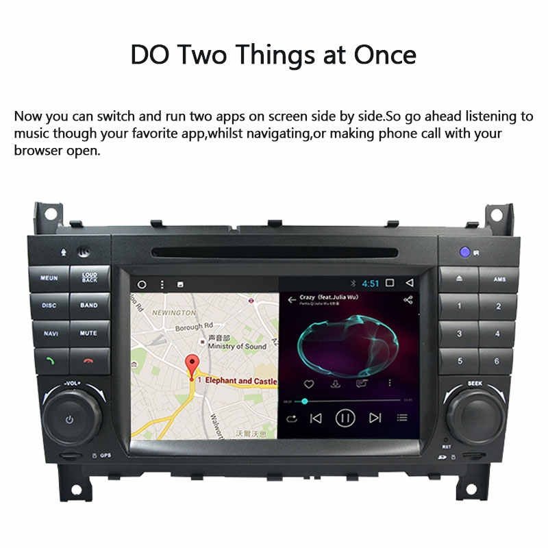 2 Din 자동차 DVD 플레이어 메르세데스 벤츠 CLC W203 CLK W209 2004-2007 C200 C230 C220 C320 라디오 멀티미디어 GPS 네비게이션