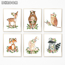 Woodland Nursery Wall Art Canvas Poster Nordic Decoration Print Painting Decorative Picture Girl Home Decor