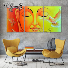 FULLCANG triptych mosaic embroidery buddha and pigeons diy diamond painting cross stitch icon kits full drill 3pcs G1228