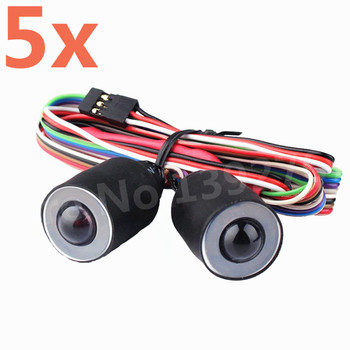 5 Pieces Wrangler With Channel Angel Eyes 17mm RC Simulation Climbing Lights Headlamps For 1/10 Scale Models Remote Control Cars