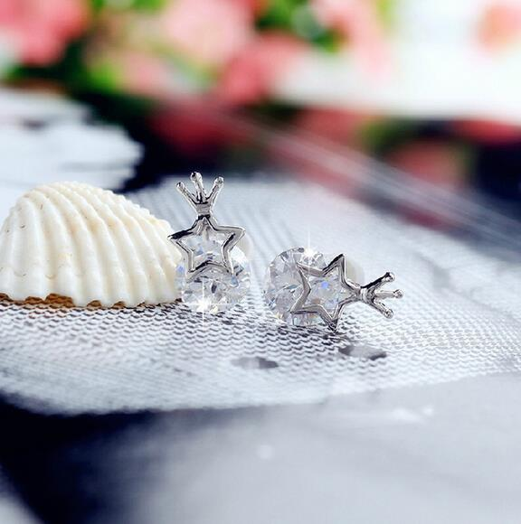 OMHXZJ Wholesale Fashion Girl princess jewelry Not allergic Five pointed star crown 925 sterling silver Stud earrings YS49 in Earrings from Jewelry Accessories