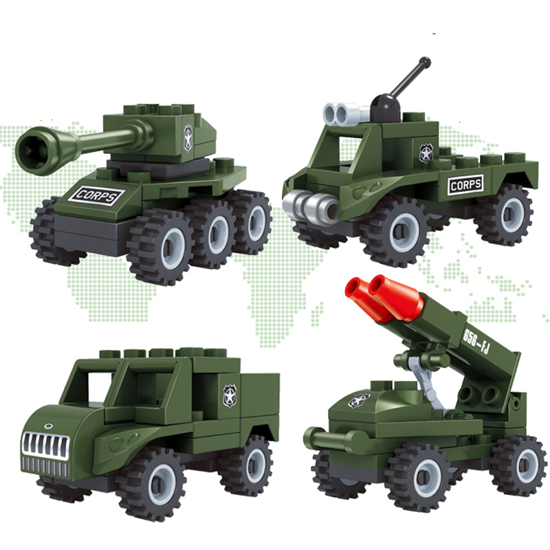 4 Pcs a Set Plastic Toy <font><b>Tank</b></font> Rocket Launcher Military Matching Blocks Buliding Bricks image