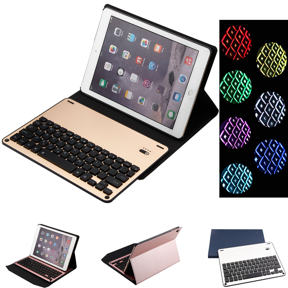 7 Color Backlight Aluminum Alloy Bluetooth 3.0 Keyboard PU Leather Case Cover For iPad 2017 2018 New Air 1 2 Pro 9.7 10.5 2017 new leather case cover beautiful gift new 1pc for ipad pro 12 9inch ultra aluminum bluetooth keyboard with pu kxl0421