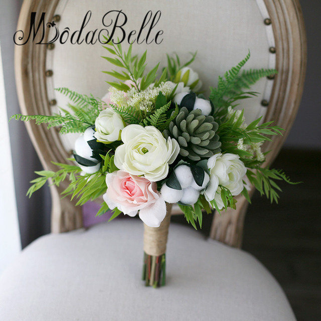 modabelle artificielle bouquet de mariage blanc coton branche fleur rose vert rose bouquet de. Black Bedroom Furniture Sets. Home Design Ideas