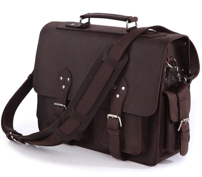 Vintage Crazy Horse Leather Men's Travel Bags Tote Duffel Bag Genuine Leather Luggage Bags Men Large Shoulder Bag Handbag Brown 7077r crazy horse leather unisex dark brown huge luggage bag tote bag travel bag