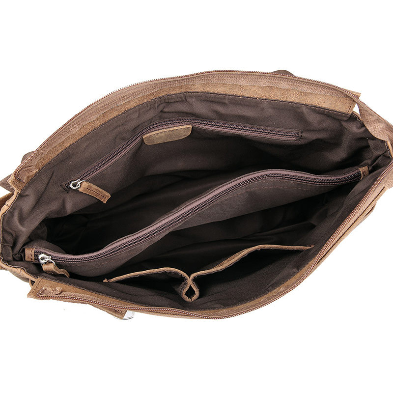 Nesitu Promotion Vintage haute qualité marron fou cheval en cuir hommes Messenger sacs en cuir véritable homme sac à bandoulière M6002L - 4