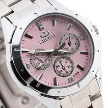 Hot sale Lady Women Quartz Wristwatch Watch Crystal Rhinestone Stainless Steel Band Bracelet Bangle Round Pink Dial Silver