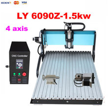 Higher speed 1500w 4 axis rotary 6090 3d cnc router milling lathe cutting engraving carving machine for wood stone metal