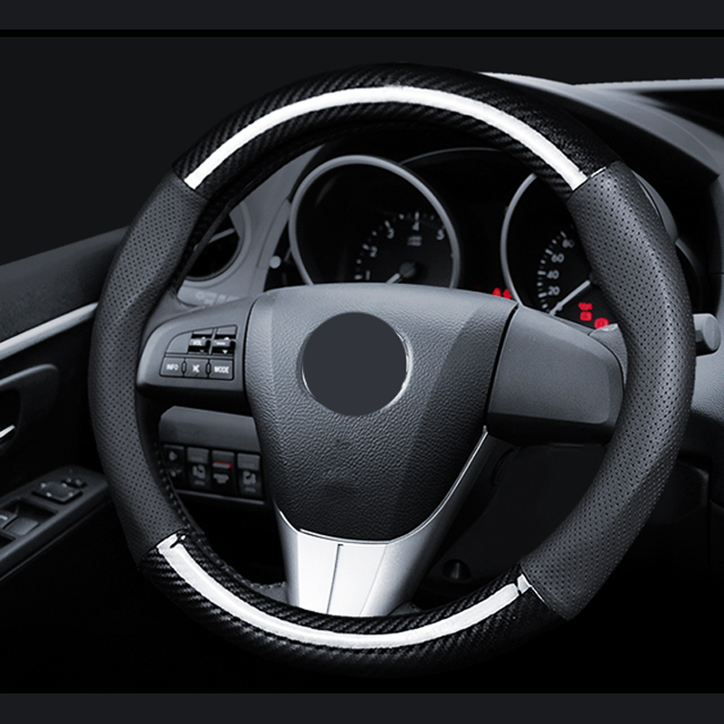 38cm Car Steering wheel Cover 38CM Genuine Leather Carbon Fiber Black Car Steering Wheel Cover carbon fiber vinyl leather car steering wheel cover fit for bmw e36 e46 e60 e90 38cm carbon wheel cover interior accessories