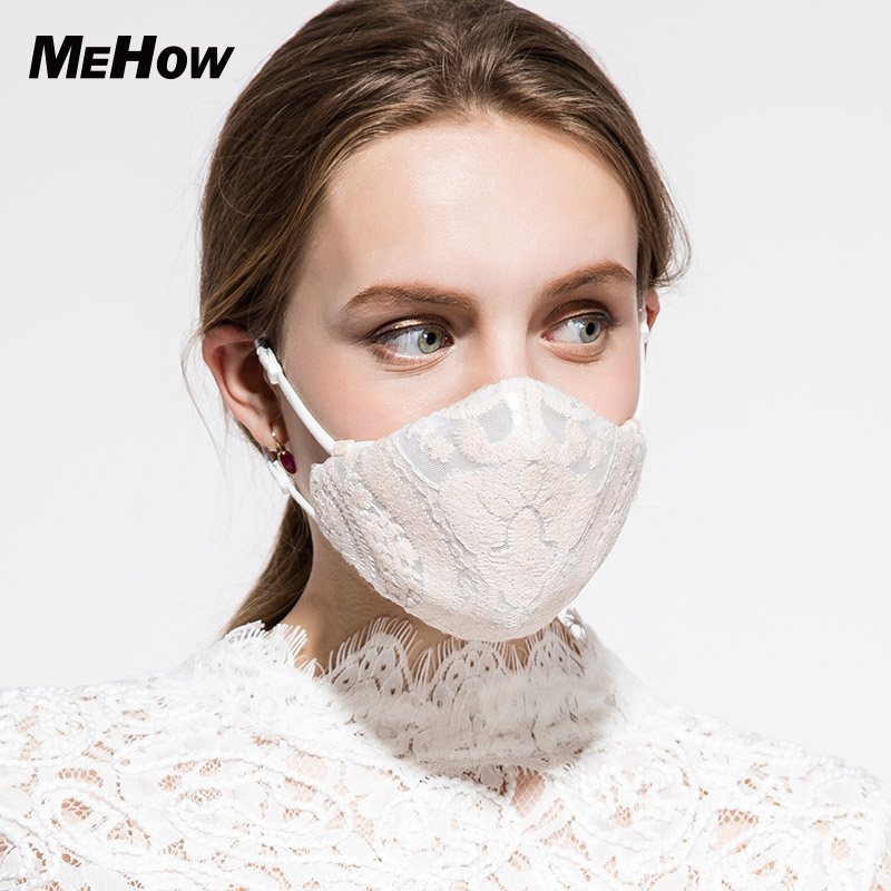 MeHow Mesh Cloth Embroidery Mouth Mask Women Khaki Lace PM2.5 Anti Haze Dust Mask Nose Filter Beauty Health Care Mouth-muffle adult pm2 5 dust mask anti haze cotton masks mouth muffle with exhale valve filter