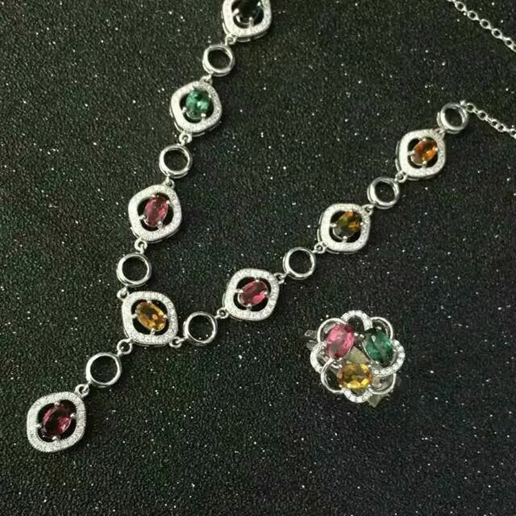 купить Natural candy Tourmaline Ring + Necklace Set inlaid jewelry wholesale S925 Sterling Silver по цене 6709.99 рублей
