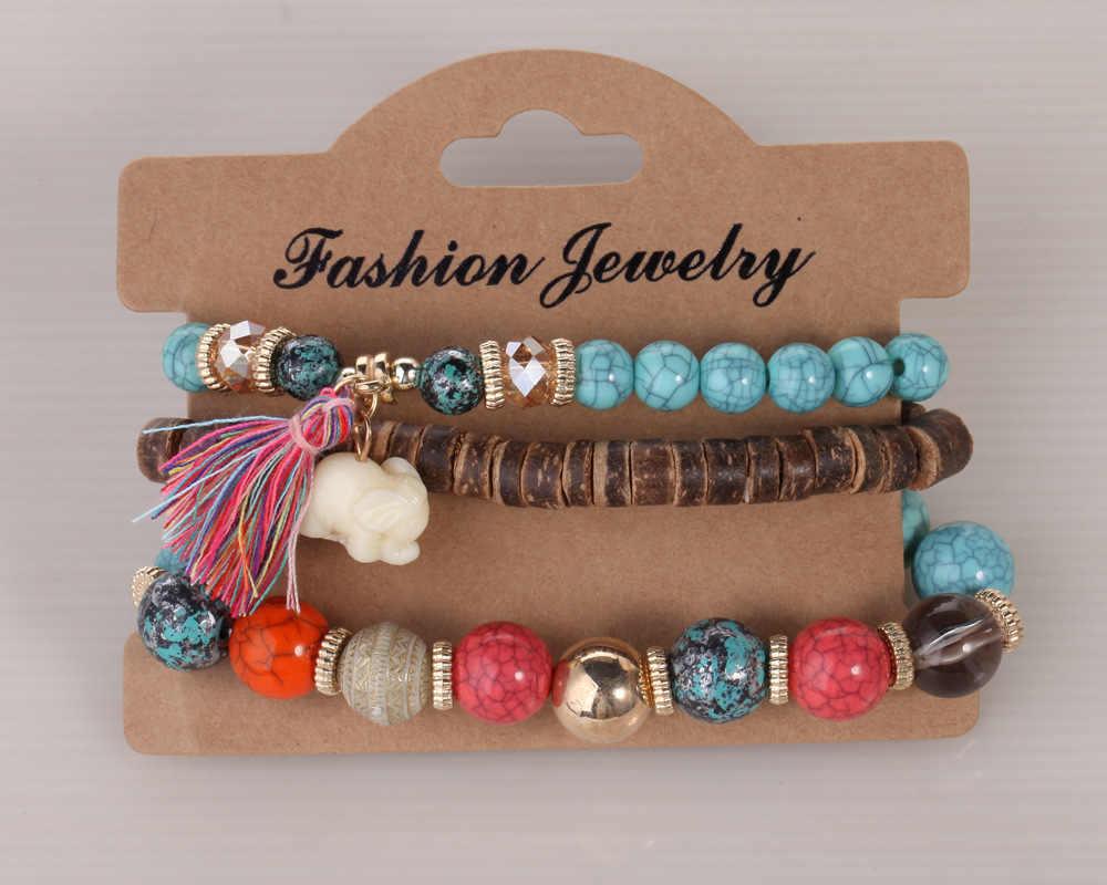 Elephant Bracelet Bead for Women Femme Wood Wooden Beads Charm Tassel Vintage Jewelry Braccialetti Pulceras Para Mujer Armbanden