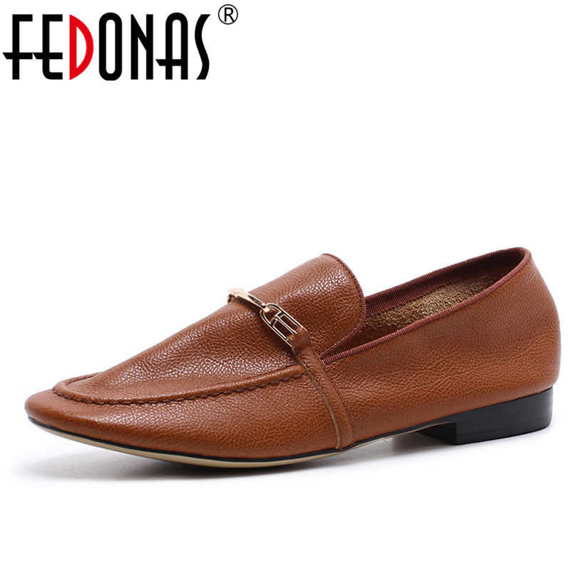 FEDONAS Top Quality Women Genuine Leather Flats Shoes Round Toe Comfortable Four Season Casual Shoes Vintage Retro Flat Shoes new summer british style genuine leather flat retro shoes women breathable women flats casual comfortable shallow shoes ny8813