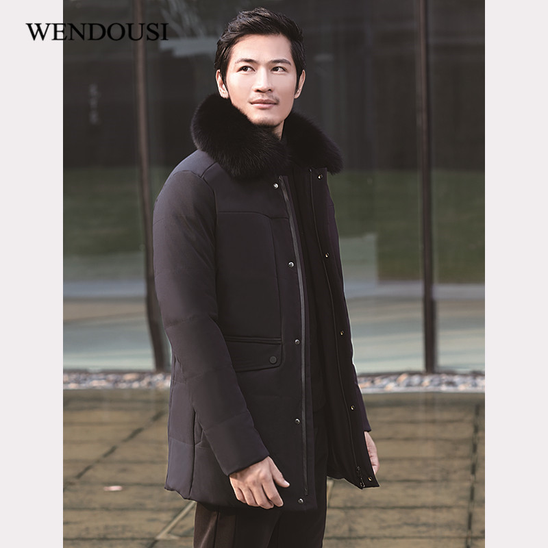 WENDOUSI Winter Warm Hooded Men Down Jackets Casual Duck Down Coats Jackets Thicken Outwear Casual Parkas Plus Size 5XL CH707