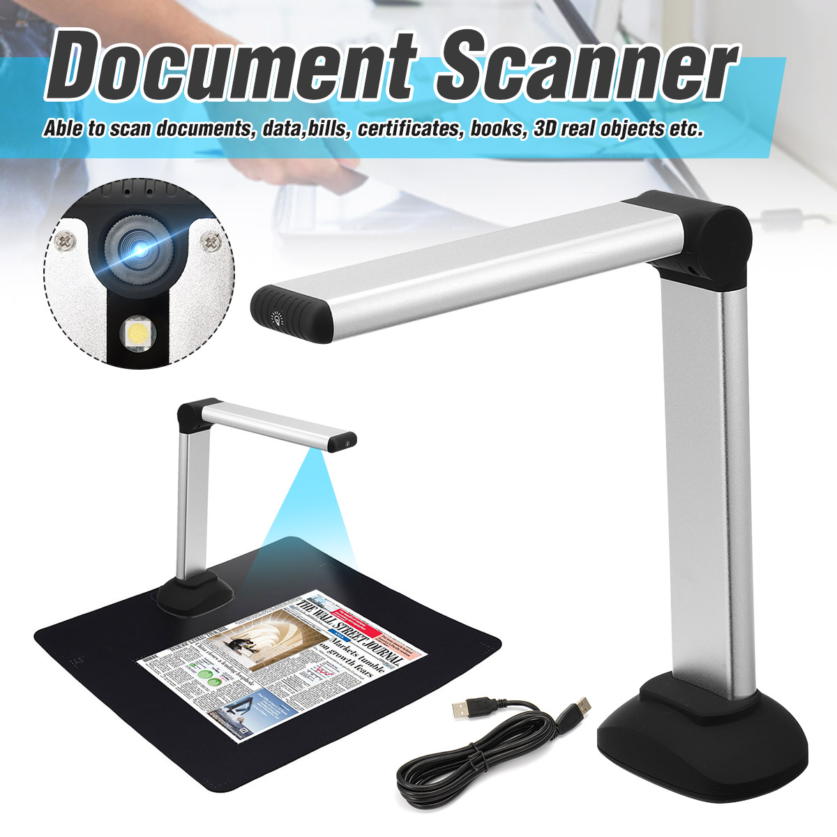 Portable High Speed Usb Book Image A4 Document Camera