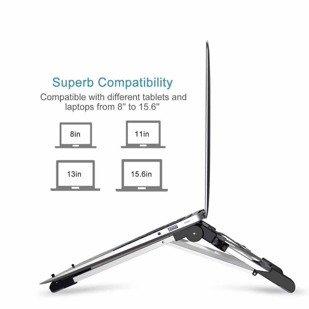 LariCare Aluminum Laptop Stands Megainvo Portable Laptop Stand Adjustable Eye-Level Ergonomic Height Foldable Compact (3)