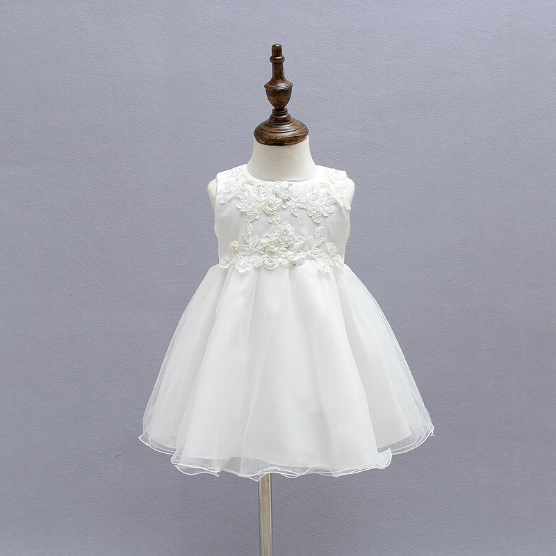 New Princess Baby Girl Christening Gown Lace Party Dress Wedding Kids Clothes