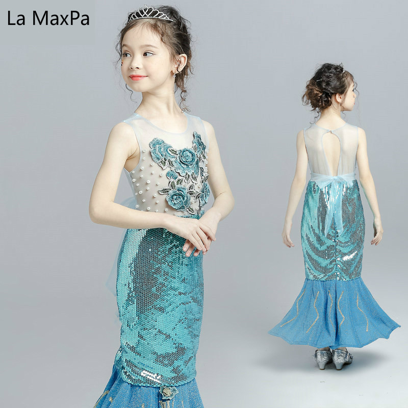 Children Beading Flower Mermaid Blue Girls Show Dress Princess Fishtail Sequin Evening Dress Birthday Party Dresses 2018 children s catwalk tail dress large children s flower princess sequin embroidered children s dress