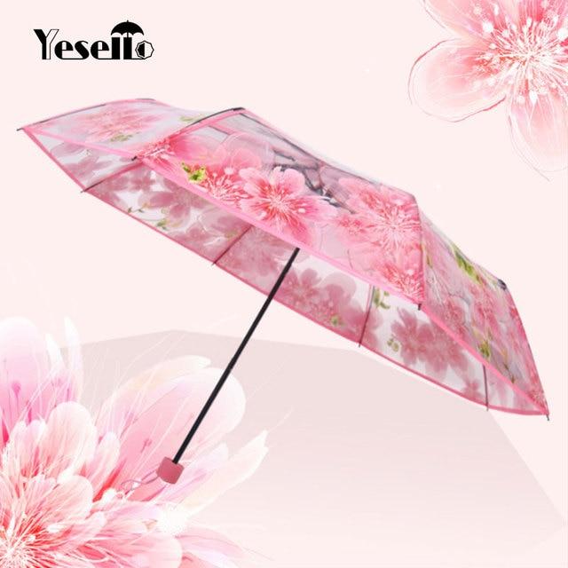 Yesello модный прозрачный Гладкий складной зонт Цветок персика женский зонт от дождя