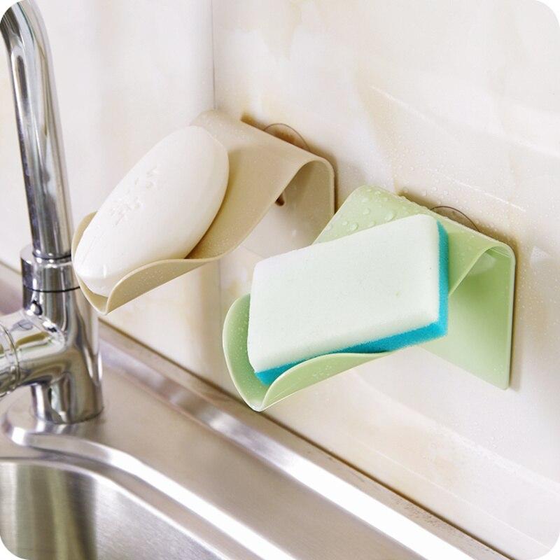 Wall Mounted Drain Suction Soap Dish Sponge Holder Sink Shelf Soap