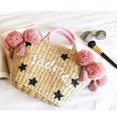 2018 Colorful Ball Large Beach Bags Luxury Designer embroidery Straw Bag Women Handmade Pom Pom Handbags Summer Travel Bag striped embroidery pom pom detail blouse