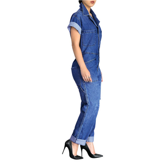 84af09683a3 placeholder Blue Washed Denim Bleached Jumpsuits Plus Size Short Sleeve  Front Buttons Down Ripped Full-length