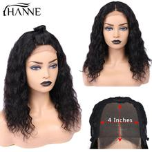 Water Wave 4*4 Lace Closure Wigs Middle Part Human Hair Wigs Glueless 8-20 inches Remy Front Lace Wig for Women 1b# Color HANNE