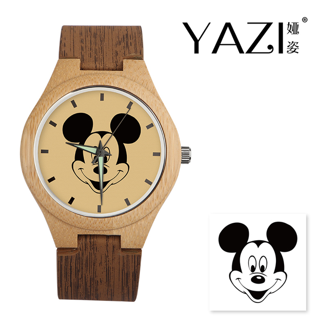 YAZI DIY Wooden Watch Mickey Mouse Quartz Watch Natural Bamboo Wood Case Wood St