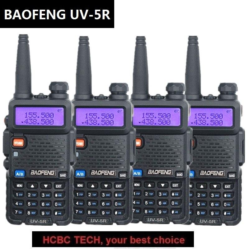 4PCS 100 Original BAOFENG UV 5R Portable Two Way Radion 136 174MHZ 400 520MHZ 128CH 1800MAH