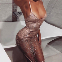 New sexy dresses women Backless halter Black Gold mini dress party tassel Summer dress night club party wear bling bling dresses