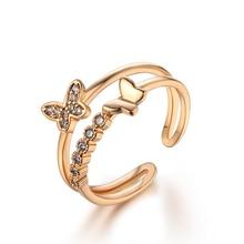 Österreich Hochzeit Zirkon Kristall Schmetterling Blume Ringe Gold Farbe Finger Bogen Resizable Verlobungsring Frauen Schmuck Großhandel