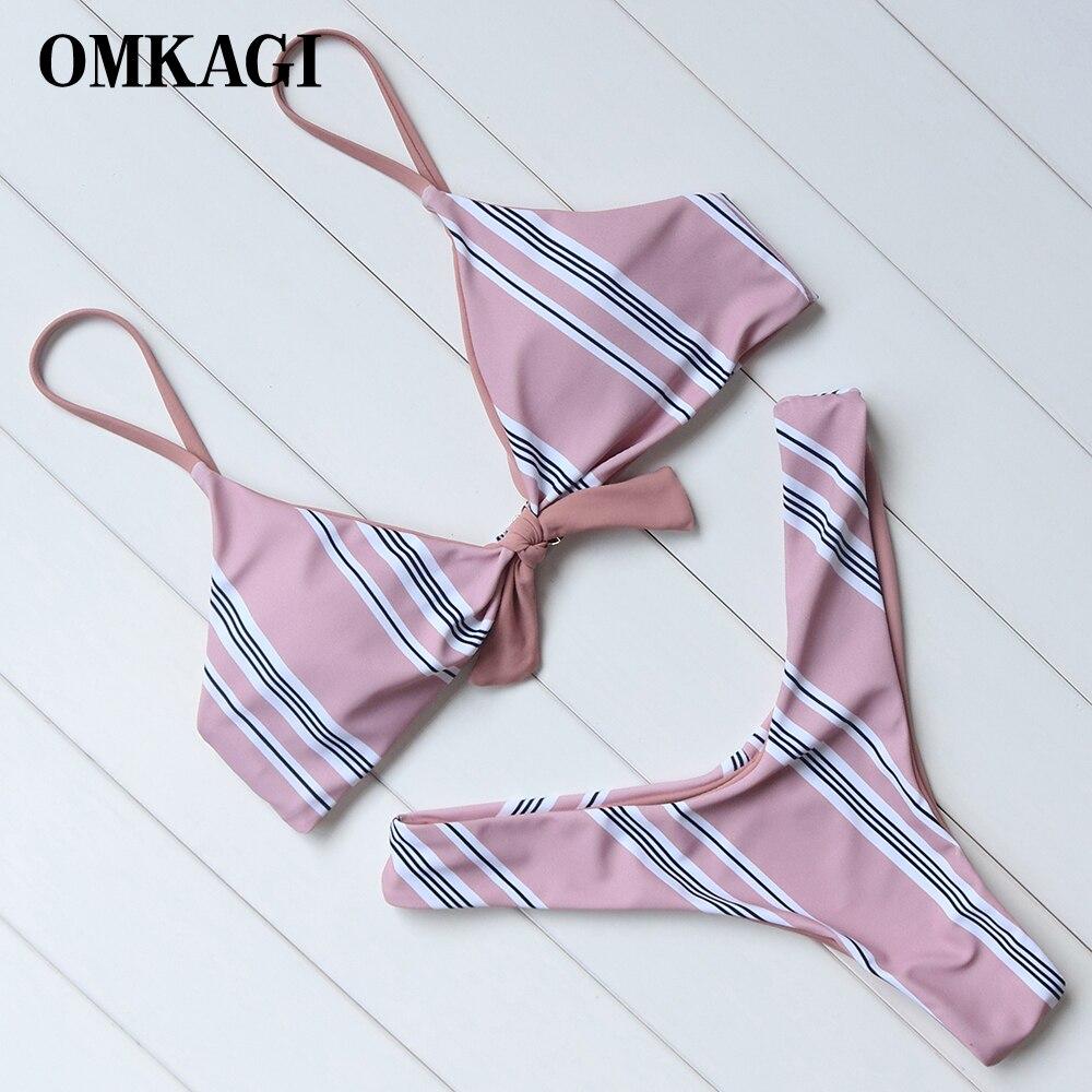 OMKAGI Brasiliano Bikini 2018 Costume Da Bagno Delle Donne Costumi Da Bagno di Alta Pantaloni Bikini Regolati Costume Da Bagno Beachwear Maillot De Bain Femme Biquini