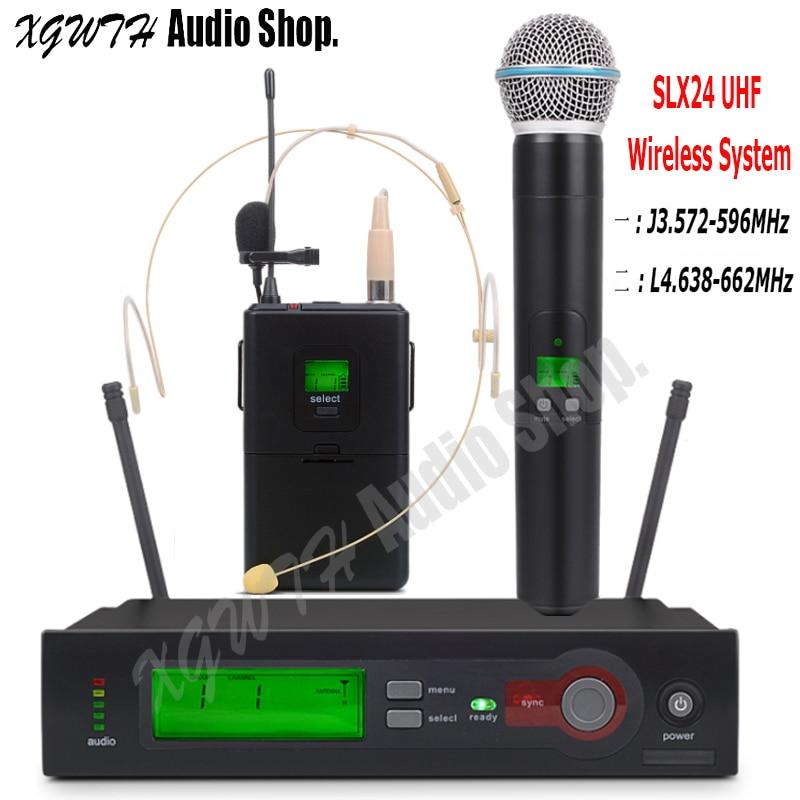 SLX24 SLX14 BETA58A UHF Wireless Microphone System Super Cardioid Handheld Bodypack Lapel Headset Mic For Stage Karaoke DJ