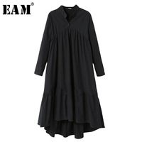 EAM 2018 New Spring Winter Stand Collar Long Sleeve Black Solid Color Big Size Long