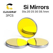 Cloudray Co2 лазерные Si Отражающие зеркала для лазерного гравера Позолоченные кремниевые отражатели линз Dia. 19 20 25 30 38,1 мм