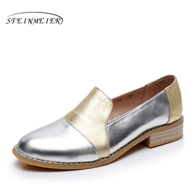 Mulheres couro genuíno brogue sapatos oxford mulher prata simples handmade retro vintage casual sapatos baixos para as mulheres