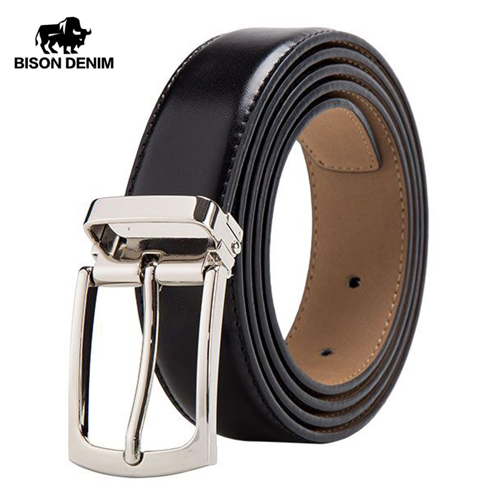 BISON DENIM Cow Genuine Leather Belt For Men Fashion Classic Vintage Pin Buckle Male Belt Business Luxury Strap W71123-3B