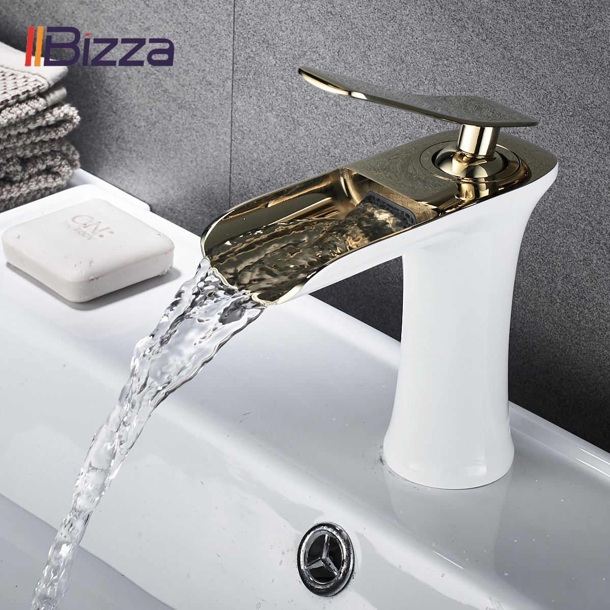 Basin Faucet Black Waterfall Bathroom Faucets Hot Cold Water Basin Mixer Tap Chrome Brass Toilet Sink Water Taps Crane Gold 1401-in Basin Faucets from Home Improvement