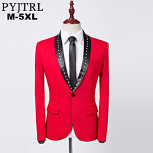 تصميم جديد للرجال من PYJTRL سترة بتصميم كلاسيكي مرصعة بالكريستال وطية صدر السترة باللون الأحمر بقصة ضيقة مناسبة لحفلات الزفاف