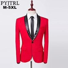 Pyjtrl marca nova masculino blazer design de cristal clássico xale lapela vermelho fino ajuste terno jaqueta casamento noivo cantor traje homme